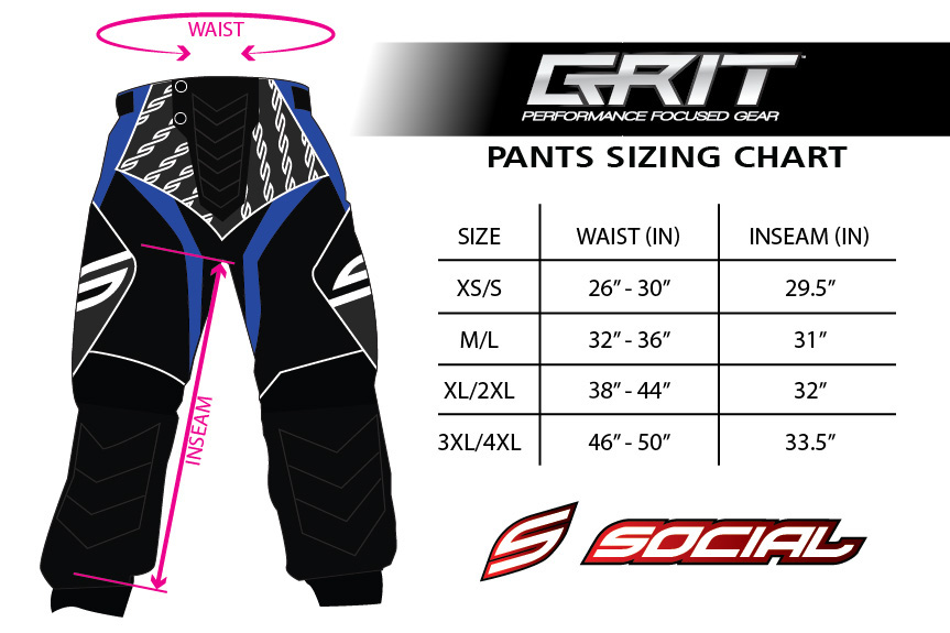 grit paintball pants sizing chart