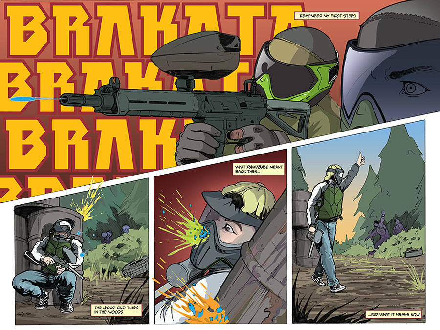 bunkered paintball comic book spread